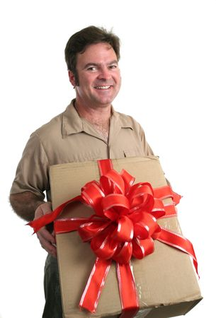 a delivery man bringing a gift - isolated Stock Photo - 233570
