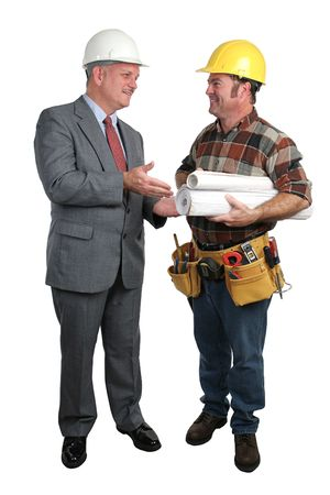 jobsite: an architect meeting with a contractor on a project