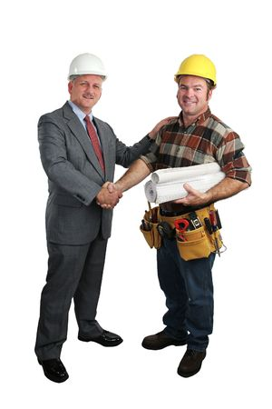 jobsite: an architect congratulating a construction supervisor on a job well done - full  view, isolated