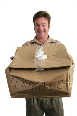 ship with gift: A delivery man holding a smashed package and trying to smile like theres nothing wrong. (focus on his face)