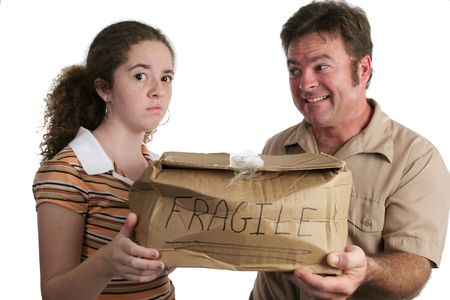 a delivery man bringing a smashed package to a dissatisfied customer