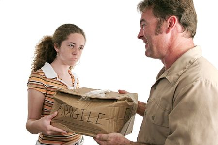 An angry customer receiving a smashed package from a delivery man (focus on girl)