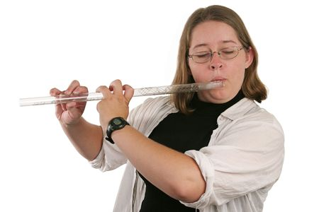 fingering: A college student learning to play a glass flute.
