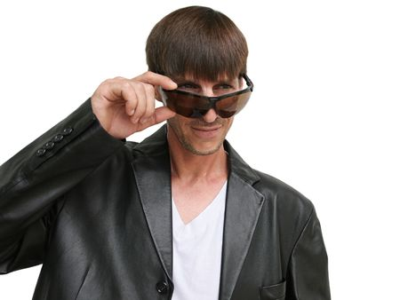street wise: A young urban male wearing a black leather jacket and sunglasses.