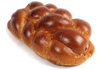 shabbat: A loaf of challah bread for shabbat, isolated. Stock Photo