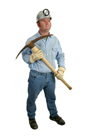 A coal miner getting ready to swing his pickax.  Full view, isolated. Stock Photo - 272396