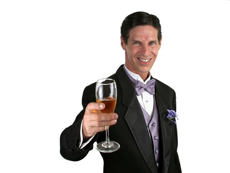 sophistication: A handsome man in a tuxedo giving a toast with champagne.