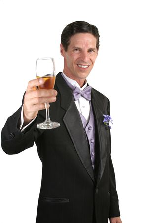 lavendar: A handsome man in a tuxedo making a toast with champagne.