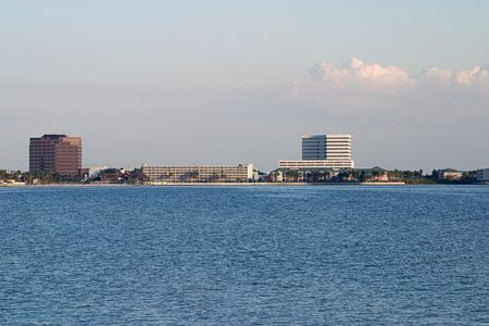 A veiw of hotels and condos along the Tampa Florida skyline. photo