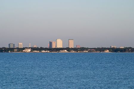 A photo of the Tampa Skyline viewed from across the water of Tampa Bay. photo