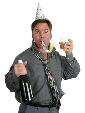 'new year's day': A guy at an office party with champagne, a noisemaker, a party hat and a goofy expression.