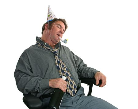 drunk: A man passed out in a chair after the office party. (horizontal view)
