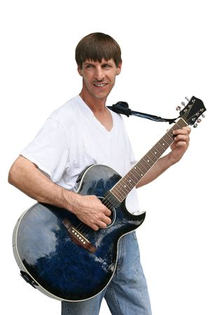fingering: A street musician playing guitar, against a white background.