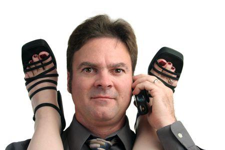 Ein Mann in der Mitte von einem Büro-Affäre erhalten einen Anruf.  Standard-Bild - 285001