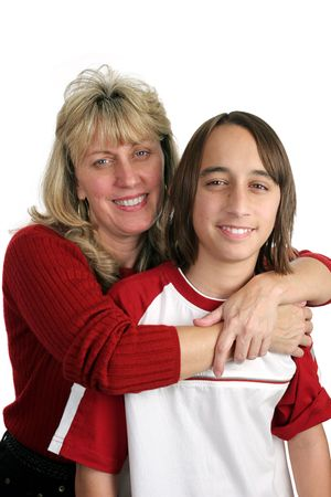 teenaged boys: A portrait of a mother and son isolated on a white background.