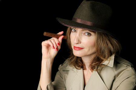 fantasize: A beautiful secret agent smoking a cigar.