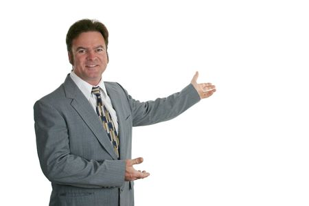 A businessman or salesman making a presentation.  Isolated. Stock Photo - 305885