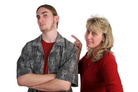 defiant: A defiant teen boy and his angry mother.