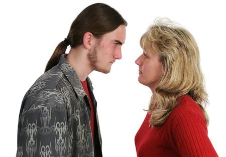 defiant: A mother and her teen son having a confrontation.