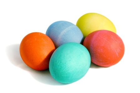 hard to find: Five colored easter eggs, isolated with . Stock Photo