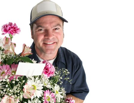 A man delivering flowers. Room for text in the right side of the frame. photo