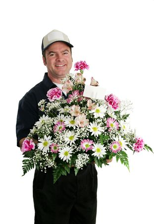 bringing: A delivery man bringing flowers.