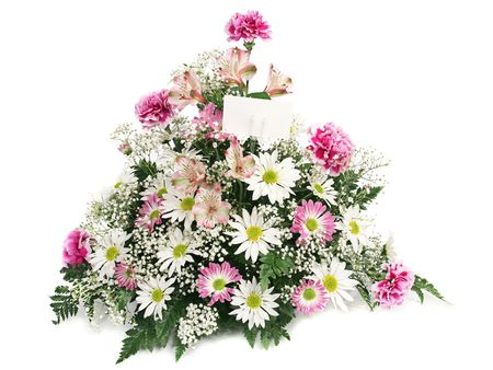 A beautiful arrangement of spring flowers with a blank card.