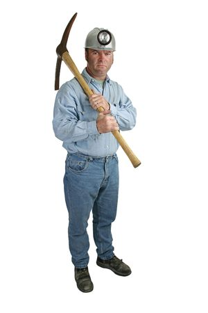 ax man: A full body view of a coal miner with a pick-ax and an angry expression. Stock Photo
