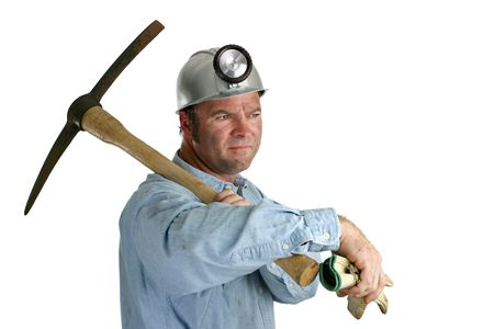 ax man: A coal miner looking ahead to an uncertain future. Stock Photo