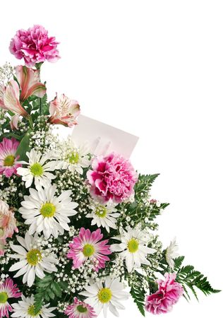 A vertical flower border with a gift card isolated on white. Stock Photo - 339887