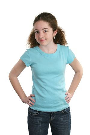adding: A teen girl modeling a blank, blue t-shirt.  Perfect for adding a logo.