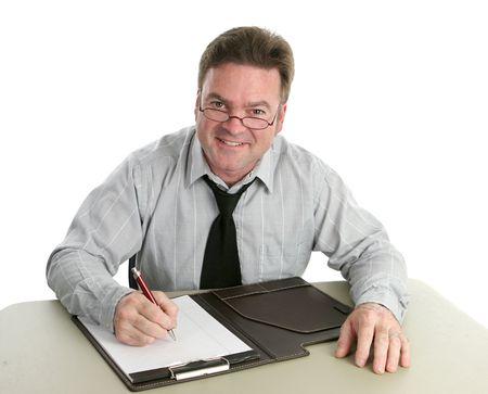 helpful: A friendly, helpful office worker.