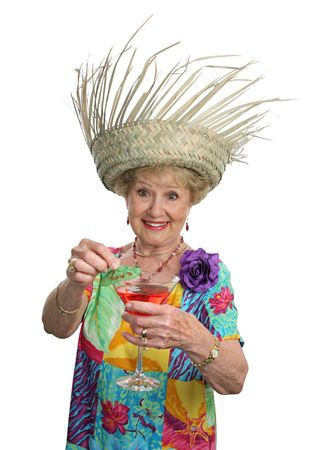 A beautiful senior woman inviting you to join her for a cocktail. photo