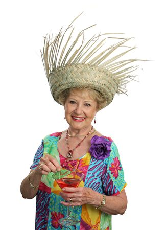 A beautiful senior woman on a tropical vacation. Stock Photo - 408169