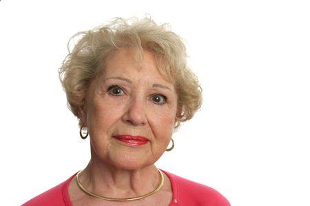 dignidad: Una bella mujer con altos una expresi�n de sabidur�a y bondad. Aislado  Foto de archivo