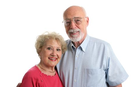 An attractive senior couple against a white background. Horizontal view. Stock Photo - 414210
