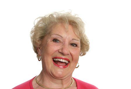 laughing out loud: Una bella mujer de altos re�r a carcajadas. Aislado en blanco.  Foto de archivo