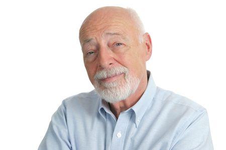 business skeptical: Un retrato de un guapo, inteligente hombre de categor�a superior. Aislado.  Foto de archivo
