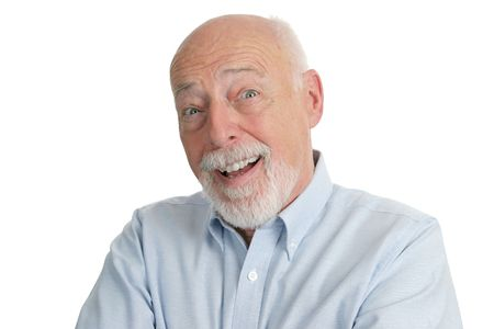 busy beard: A handsome senior man looking very surprised. Stock Photo