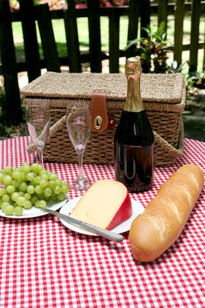 A vertical view of a picnic for two in the country. Stock Photo - 419752