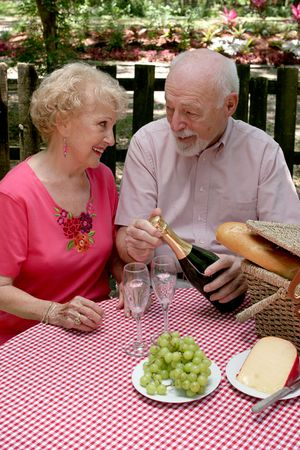 retired couple: A retired couple having a picnic in the park.  The husband is opening the wine.