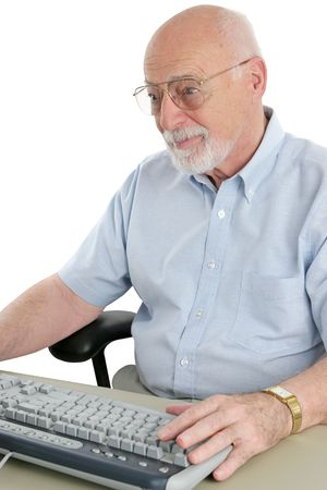 A senior man enjoying browsing the internet. Stock Photo - 443288