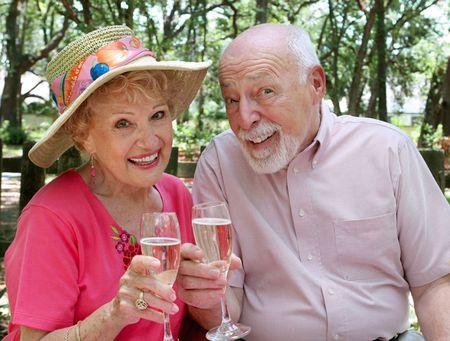 brindis champan: Una feliz pareja de alto nivel sobre un picnic haciendo un brindis de champ�n.