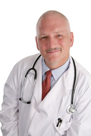 A handsome, trustworthy doctor against a white background. photo