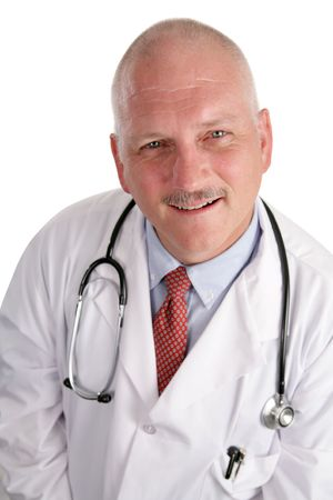 A stock photograph of a friendly, mature doctor isolated on a white background. photo