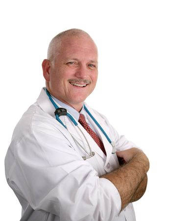 compassionate: A friendly, compassionate doctor smiling against a white background.
