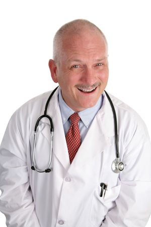 A fun, happy doctor with a big smile, isolated on white. Stock Photo - 484123