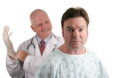urology: A nervous looking patient about to get his first prostate exam.  The doctor is in the background putting on his rubber glove.  Shallow DOF with focus on the patients face. Stock Photo