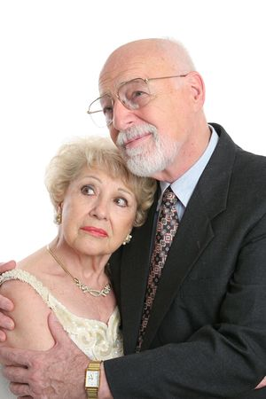 A handsome senior couple looking worried as they face the future. Stock Photo - 551503