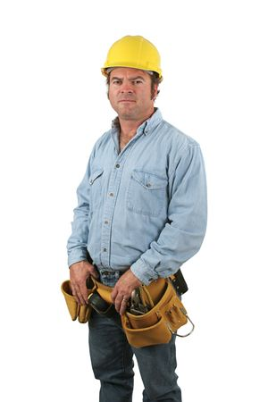 A blue collar construction worker, isolated on white. Фото со стока